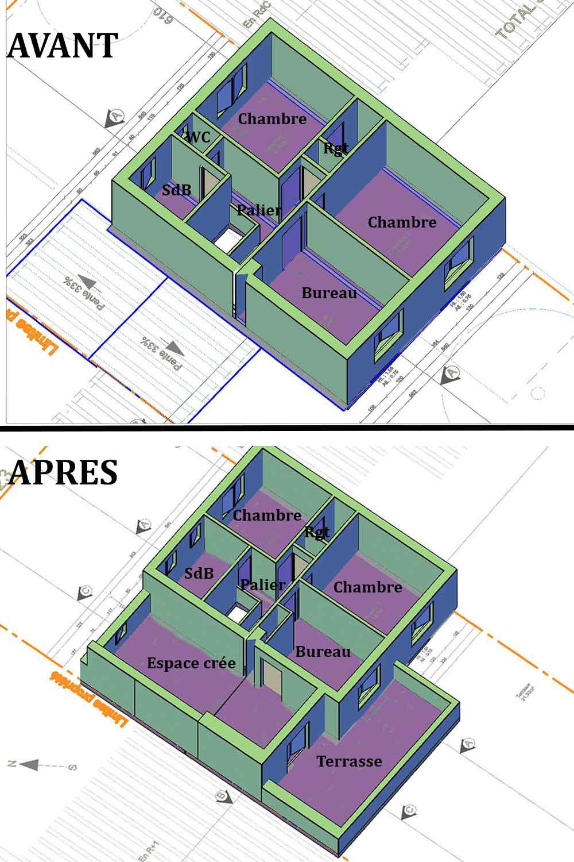 Plan 3D étage Déclaration Préalable Vaison la Romaine