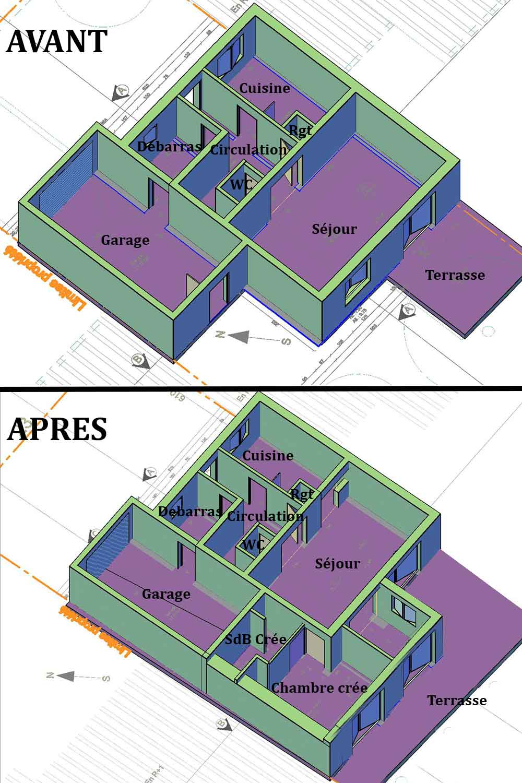Plan 3D RDC Déclaration Préalable Vaison la Romaine
