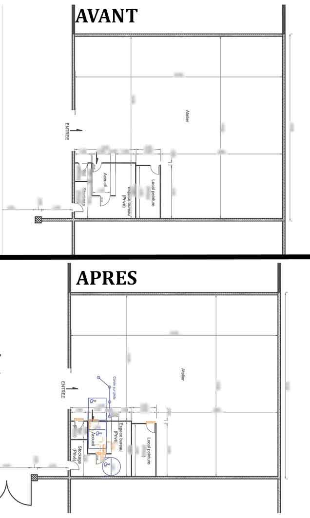 plan de niveau avant / après Accessibilité handicapé carrosserie Vaison la Romaine
