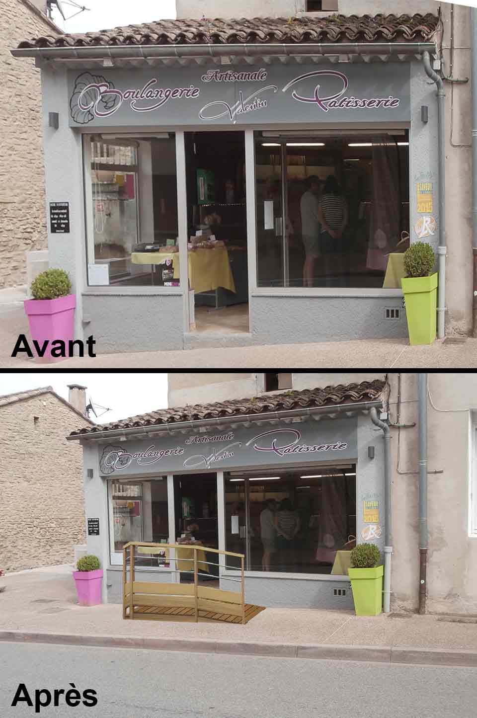Projet façade accessibilité handicapé boulangerie