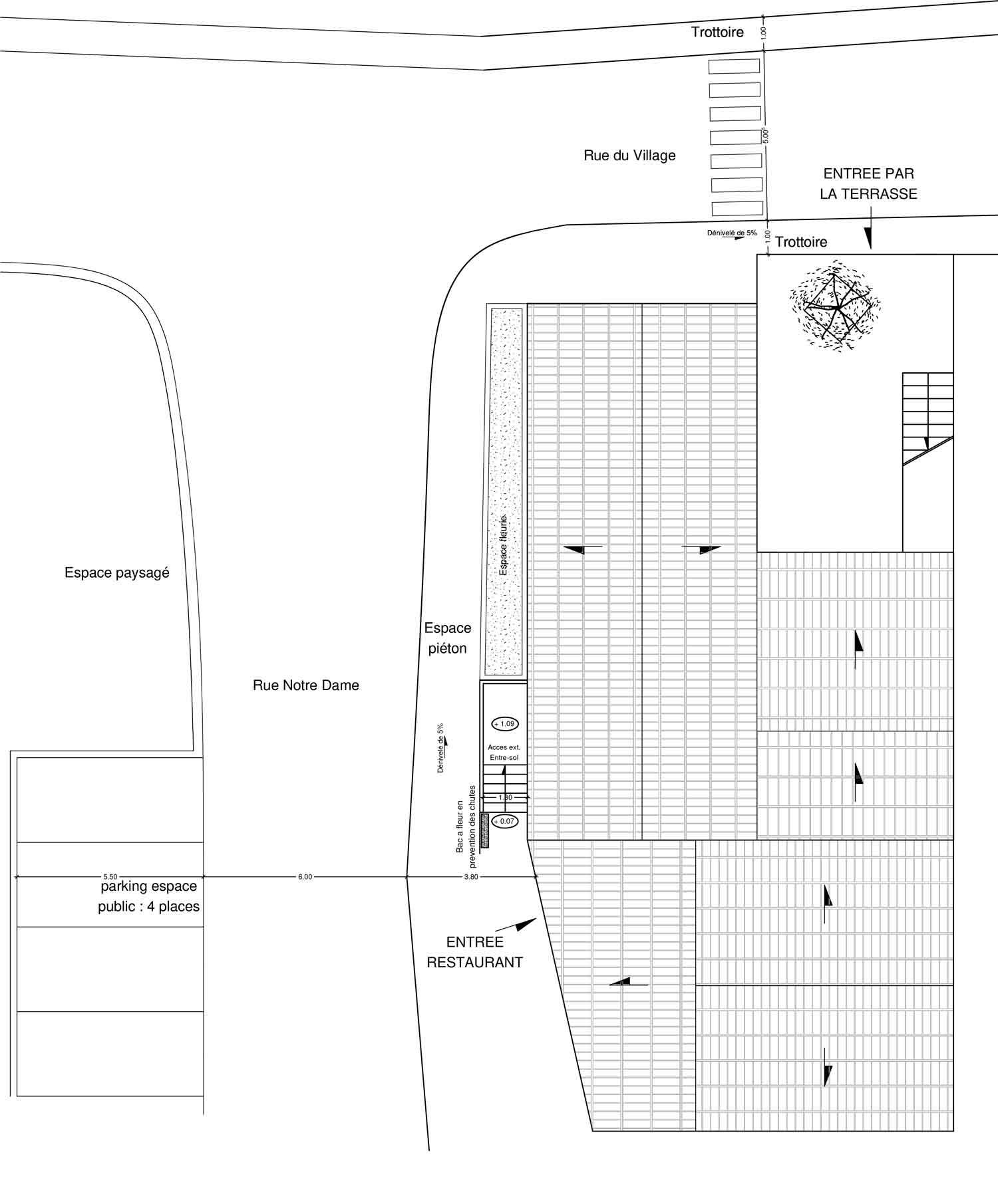 Plan de masse Accessibilité handicapé hotel/restaurant Montbrun les Bains