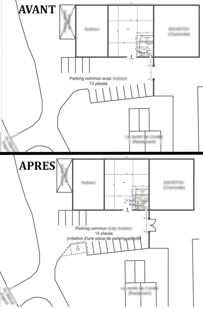 Plan de masse avant / après Accessibilité handicapé carrosserie Vaison la Romaine