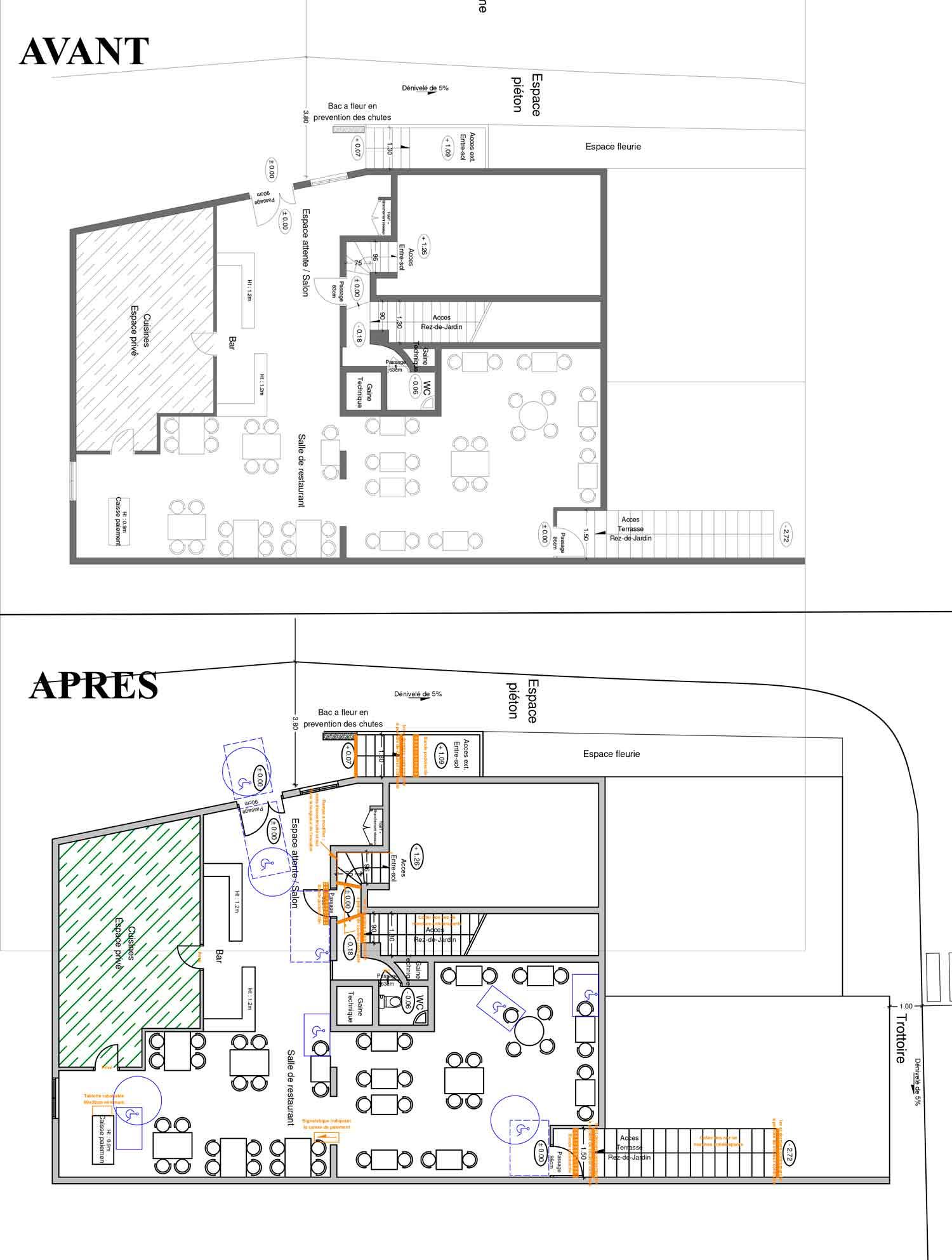 Rez de chaussée Accessibilité handicapé hotel/restaurant Montbrun les Bains