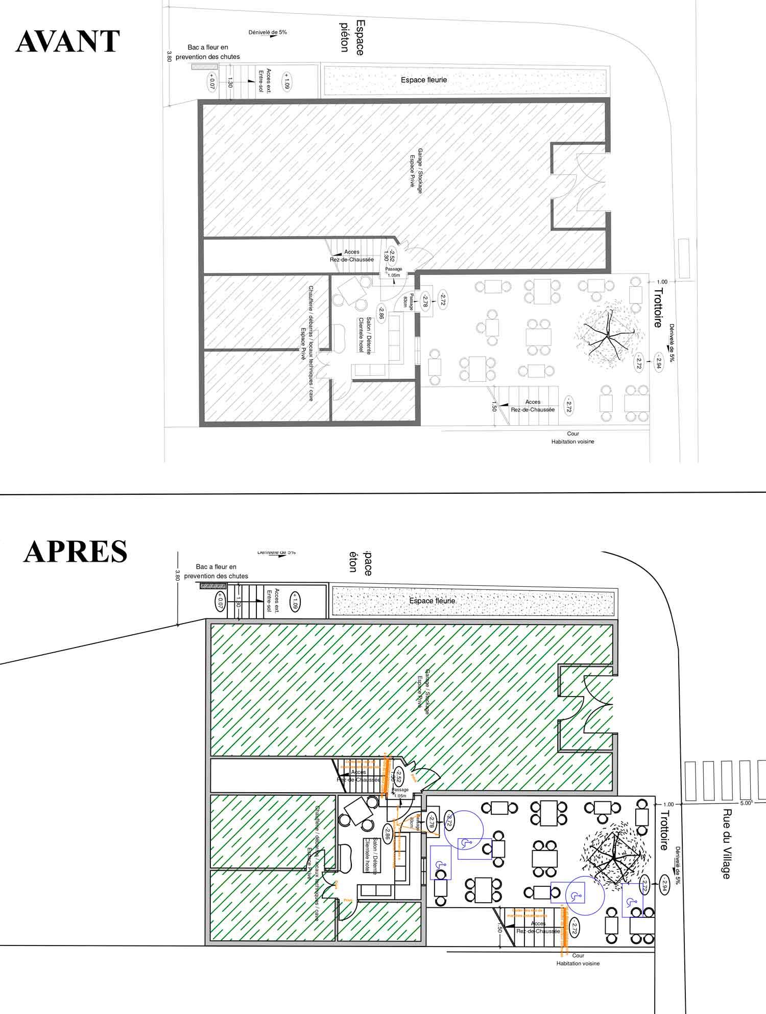 Rez de jardin Accessibilité handicapé hotel/restaurant Montbrun les Bains