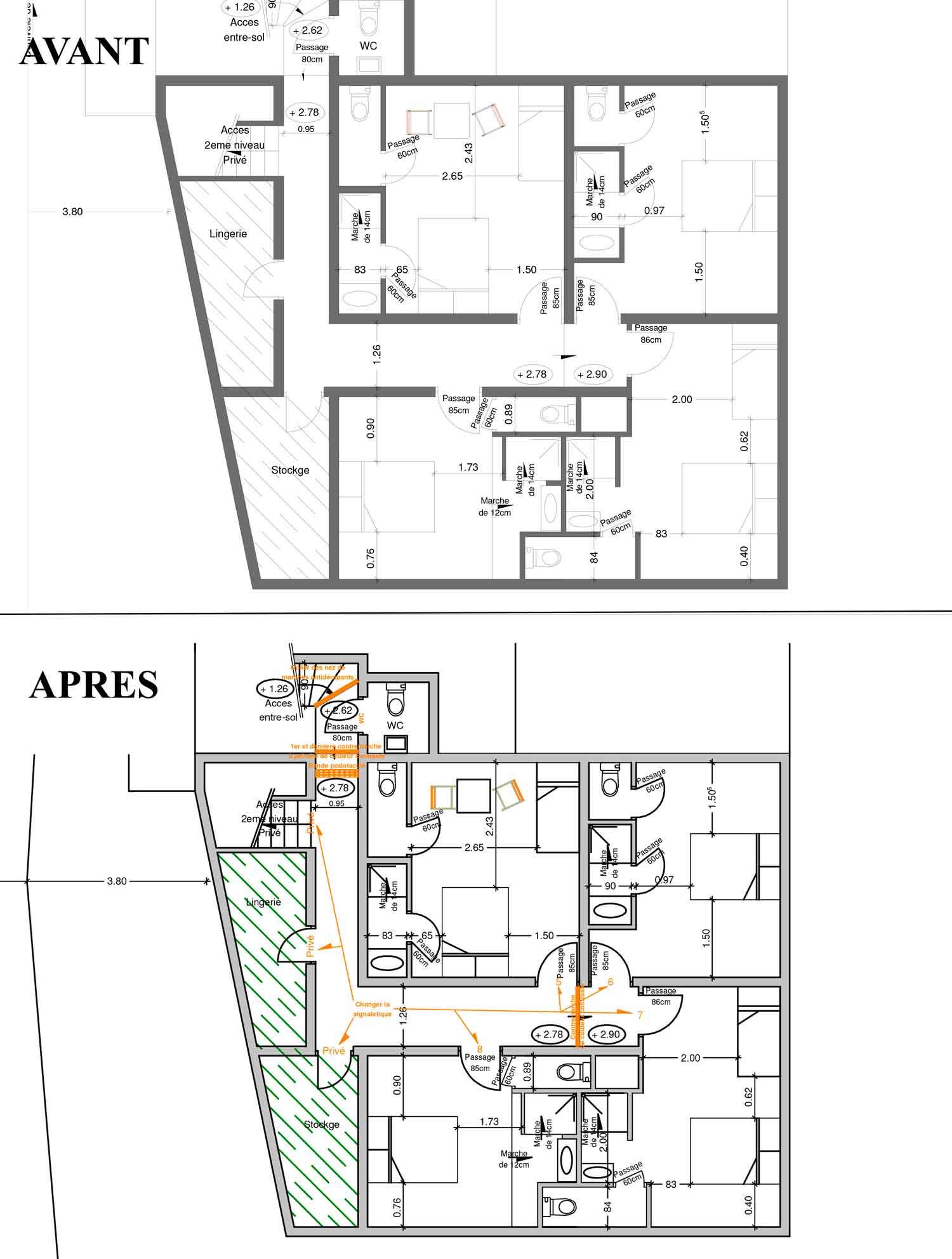 Plan etage Accessibilité handicapé hotel/restaurant Montbrun les Bains