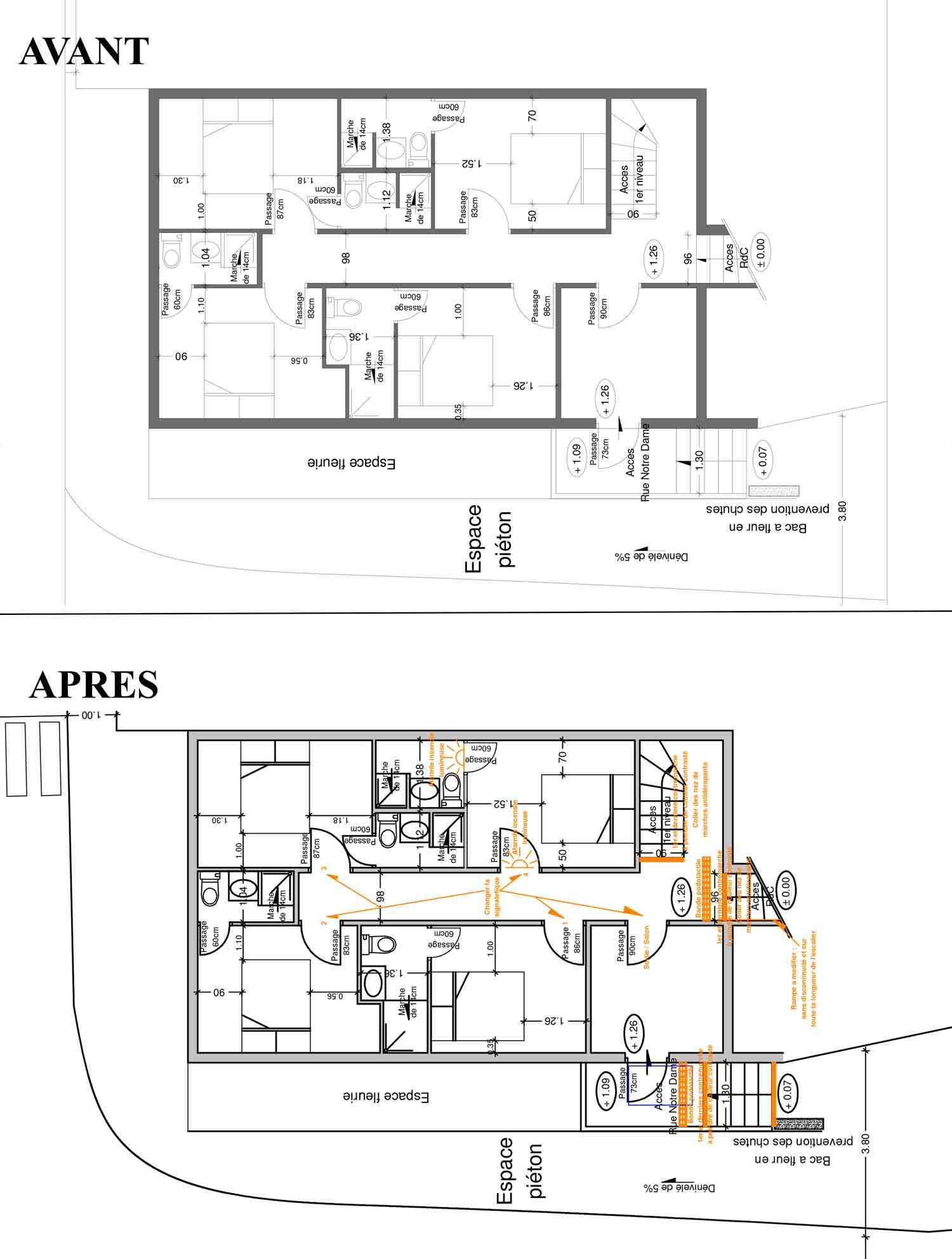 Plan entresol Accessibilité handicapé hotel/restaurant Montbrun les Bains