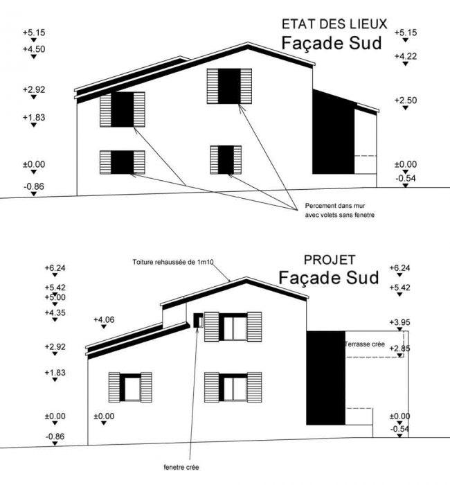 façade sud déclaration préalable surélévation Crestet Entrechaux