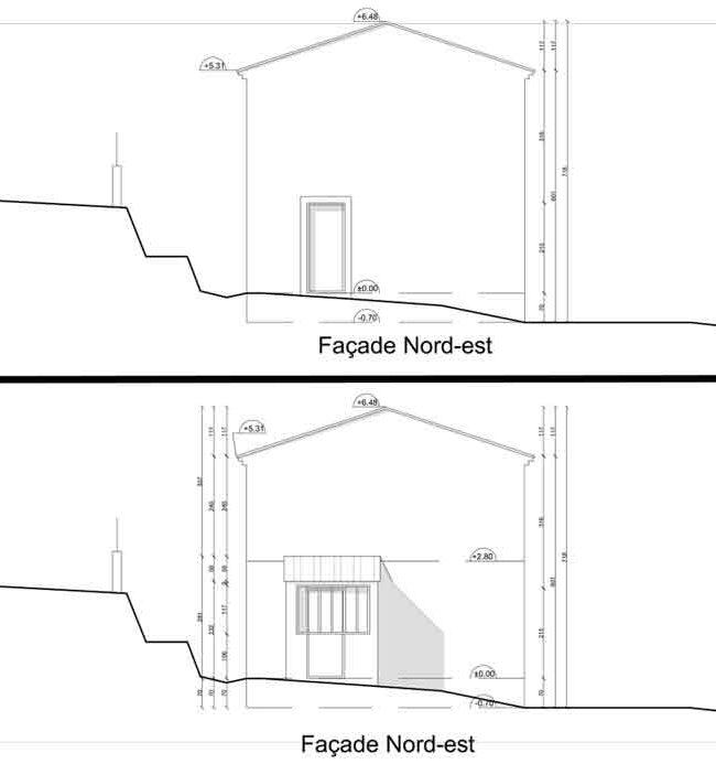 Déclaration préalable extension - façade nord