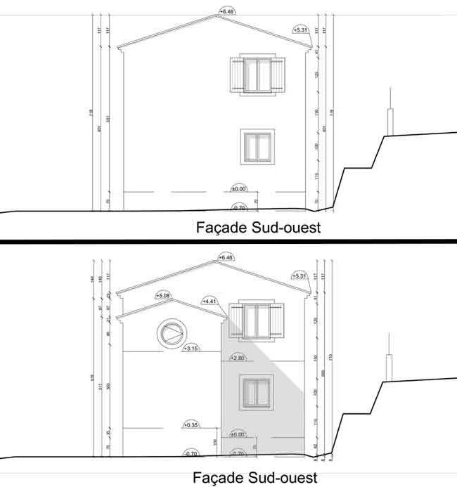 Déclaration traveaux Malaucène extension - façade ouest