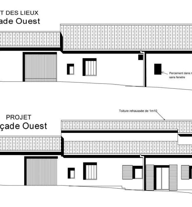 façade ouest  surélévation Crestet Entrechaux