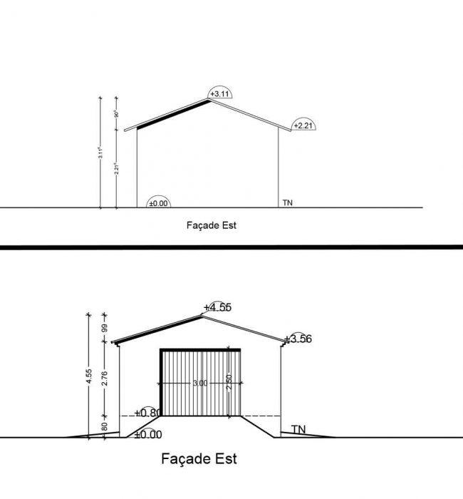 façade est Permis de Construire Agricole Crestet