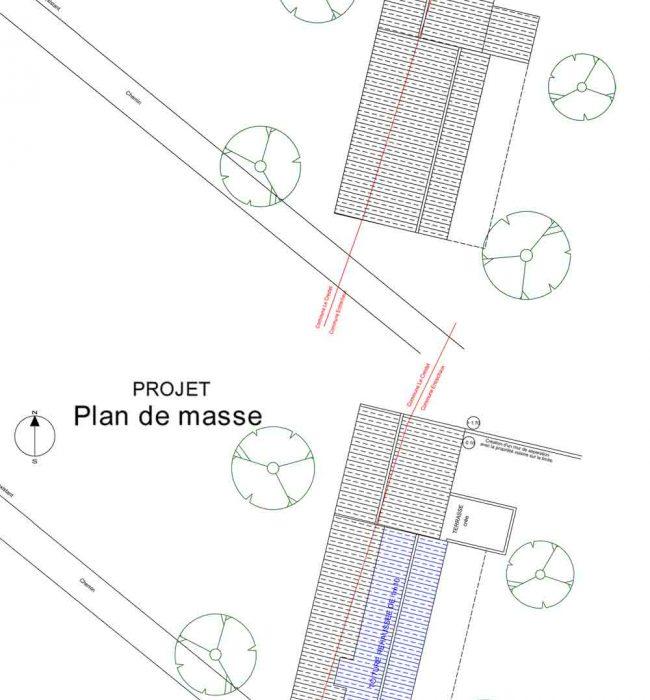 plan de masse déclaration préalable surélévation Crestet Entrechaux