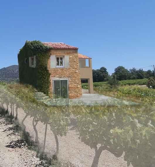 Photo modifié représentant l'extension crée permis de construire agricole Puymeras