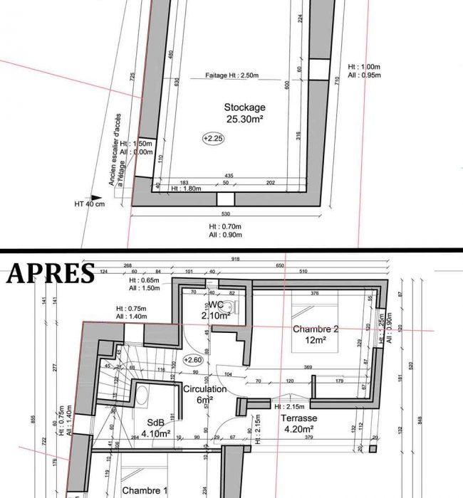 plan etat des lieux/projet du 1er étage permis de construire agricole Puymeras