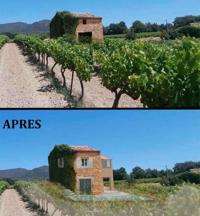 avant aprés photo d'insertion paysagère permis de construire agricole Puymeras