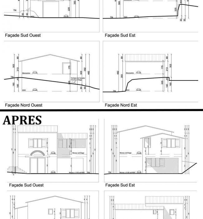 Façades cabanon agricole transformé en logement ouvrier permis de construire agricole Puymeras