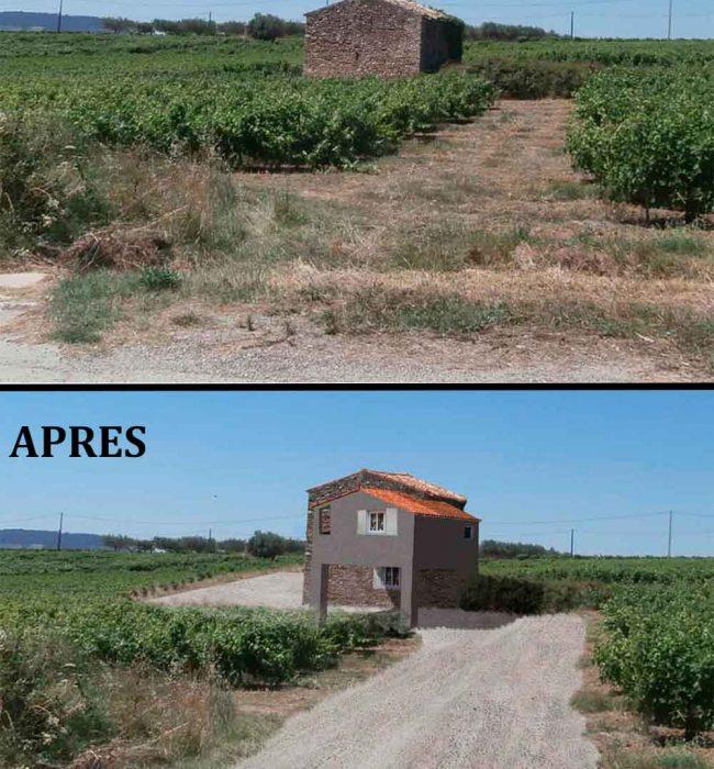 avant/après en photo de l'extension permis de construire agricole Puymeras