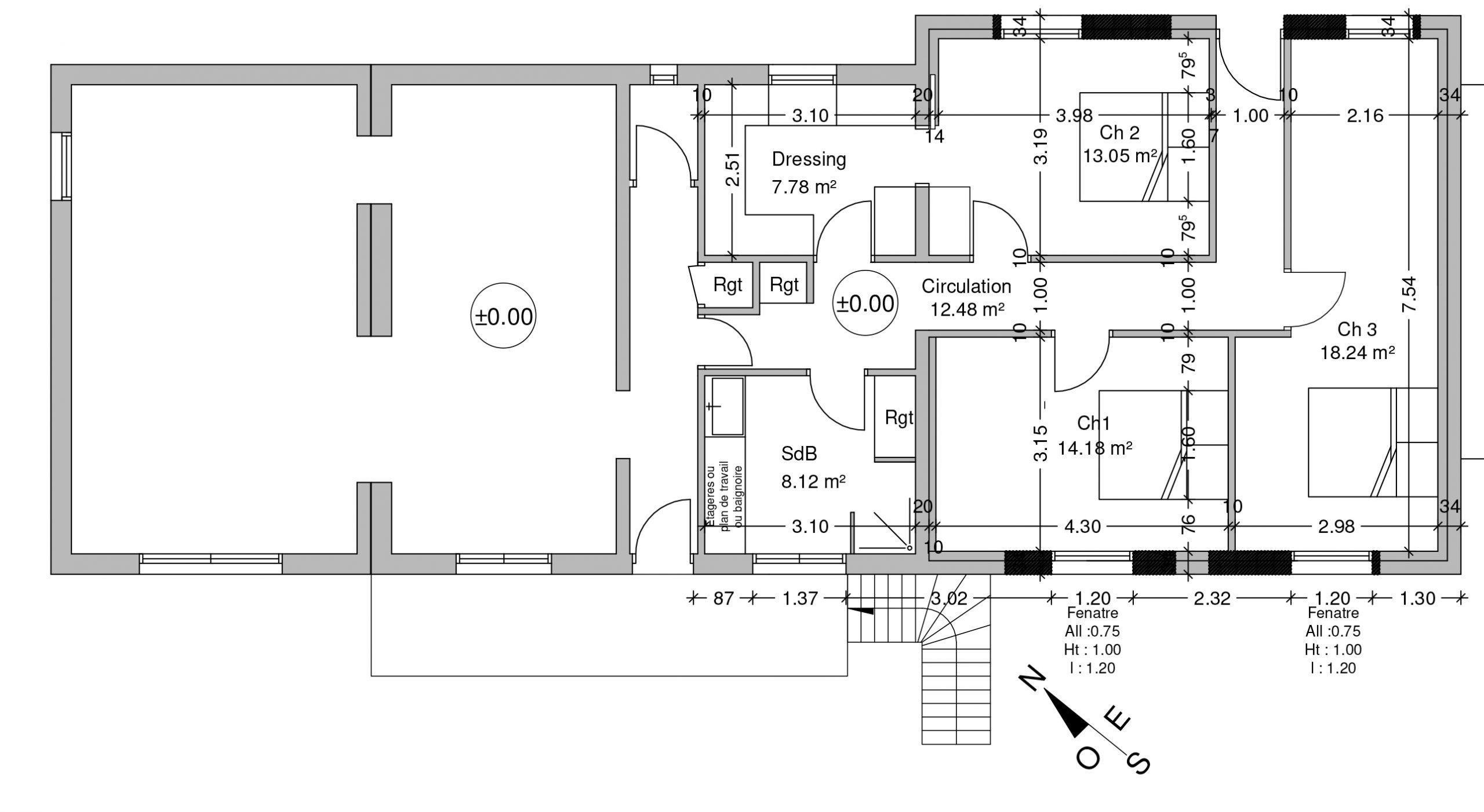 aménagement plan pour Permis Construire Changement Destination hangar en habitation St Romain