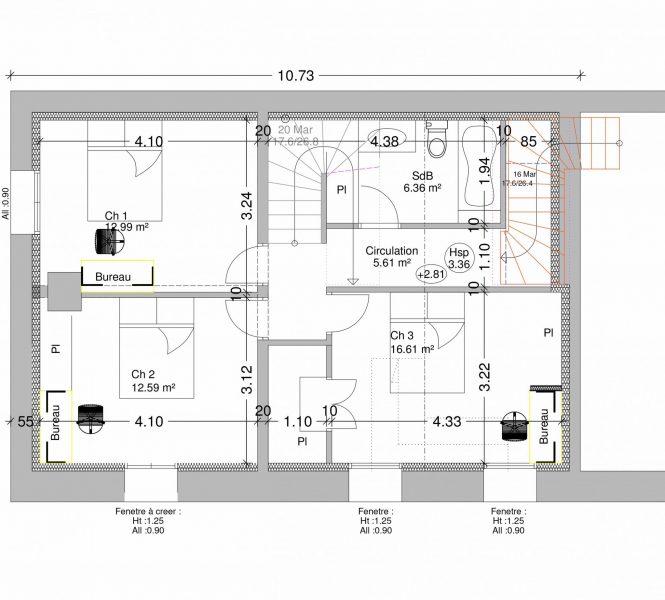 plan premier étage aménagement local commercial en habitation