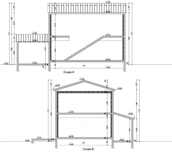 Permis de construire lotissement Chatauneuf de Gadagne plan de coupe
