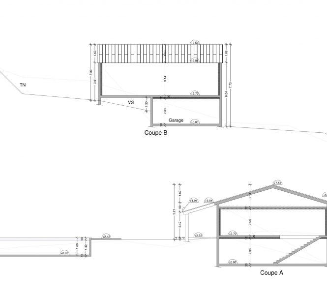 Coupe sur plan Permis de construire à Nyons maison individuelle