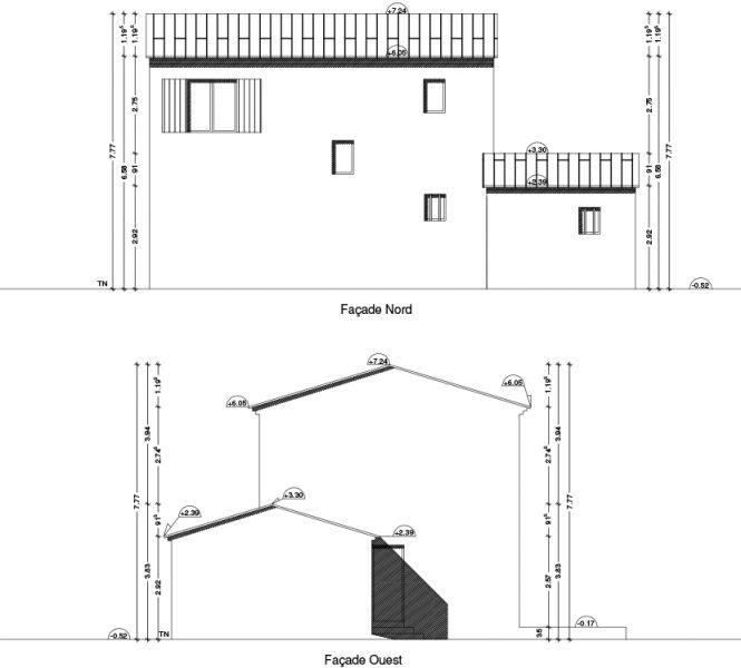 façades en plan Permis de construire lotissement Chatauneuf de Gadagne
