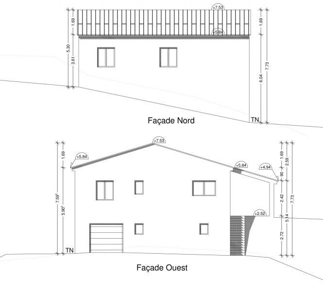 Plan façade Permis de construire à Nyons maison individuelle