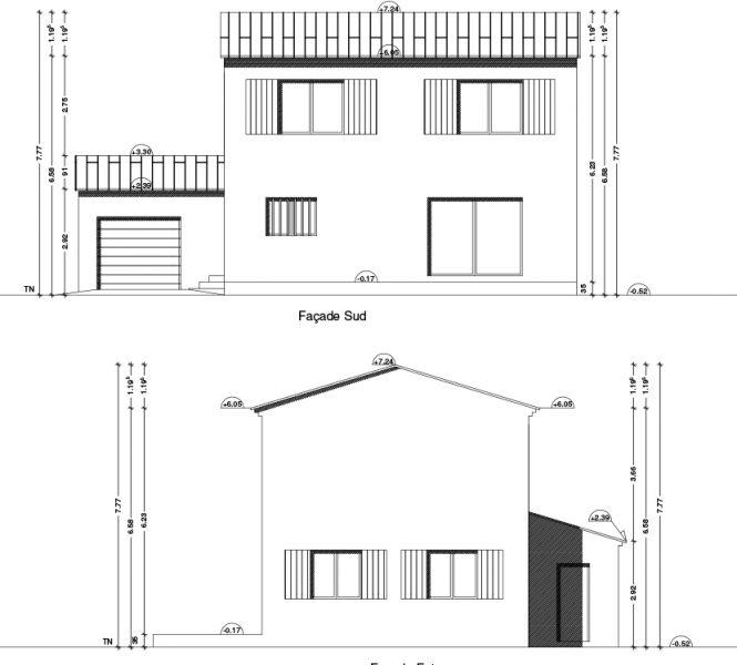 plan de façades Permis de construire lotissement Chatauneuf de Gadagne