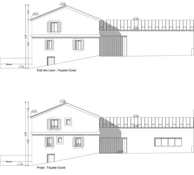 PCMI 5 plan facade création de chambre d'hôtes