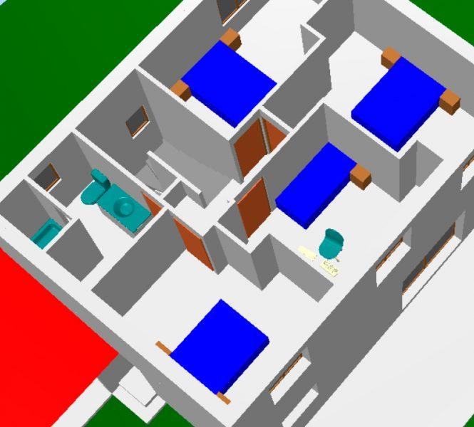 Plan 3D étage Permis de construire lotissement Chatauneuf de Gadagne