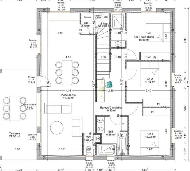 plan d'aménagement intérieur Permis de construire à Nyons maison individuelle