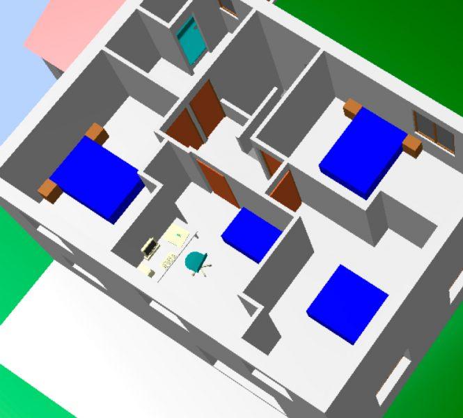 plan de l'étage vue en 3D Permis de construire lotissement Chatauneuf de Gadagne