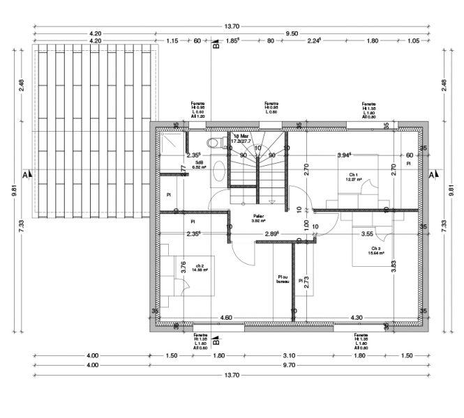 Plan de l'étage Permis de construire lotissement Chatauneuf de Gadagne