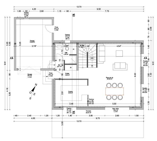 Plan du rez-de-chaussée Permis de construire lotissement Chatauneuf de Gadagne