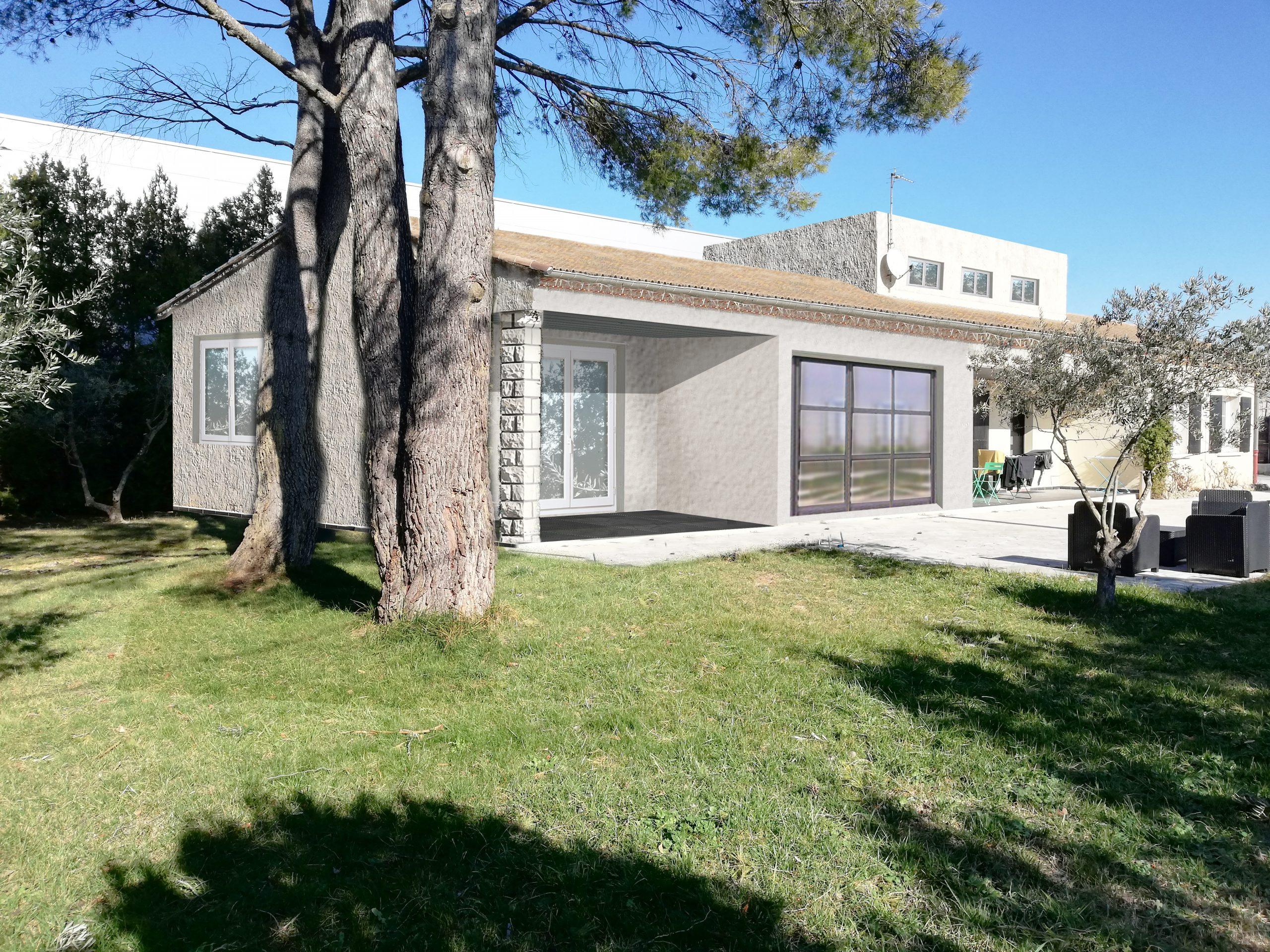 insertin paysagere Extension maison Entraigues sur la Sorgues