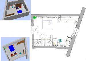 Plan 2D et 3D aménagement intérieur feng shui