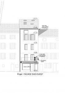 plan de façade projet de division d'une maison en appartement à Nyons