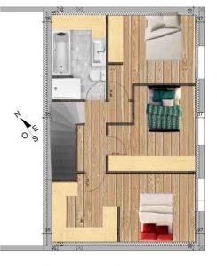 plan etage création habitation dans hangar agricole