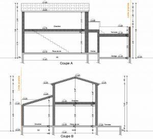 plan de coupe permis de construire pour une maison bois a Vaison la romaine