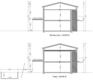 plan de coupe rénovation maison